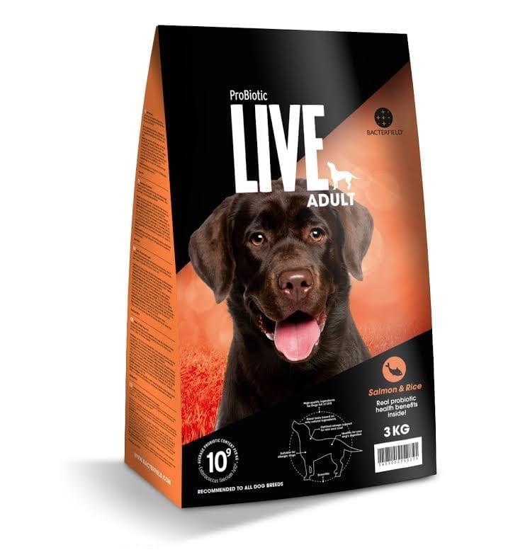 Live hund laks og ris